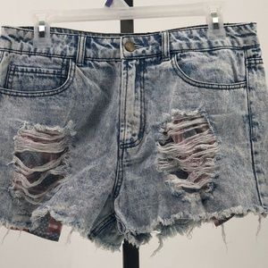 Forever 21 stone washed jean shorts distressed 28